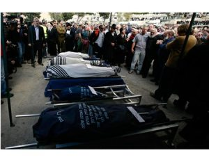 Funeral de la familia Fogel hoy en Jerusalén