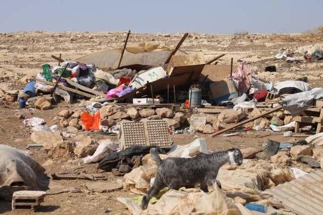 Hogares destruidos por el ejército israelí en Al Hadadiya, Valle del Jordán, 21/6/11 (Live Haberg)