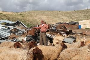 La aldea de Khirbet Samra, Valle del Jordán, después de ser demolida por el ejército israelí el 7/4/11 (Hilary Minch)