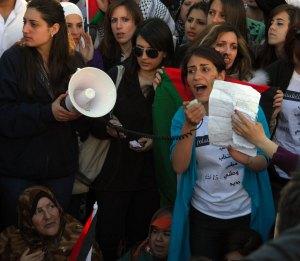 Jóvenes manifestando por la unidad política en Ramallah, 15/3/11 (Petter Lyden)