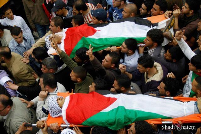 Funeral de Amer Nassar y Naji Abdulkarim Balbisi en Anabta.