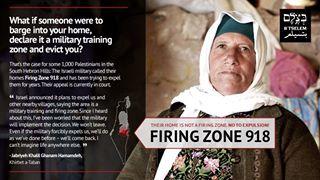 Uno de los posters de la campaña contra la Zona Militar 918 que busca expulsar a 12 comunidades palestinas en Masafer Yatta