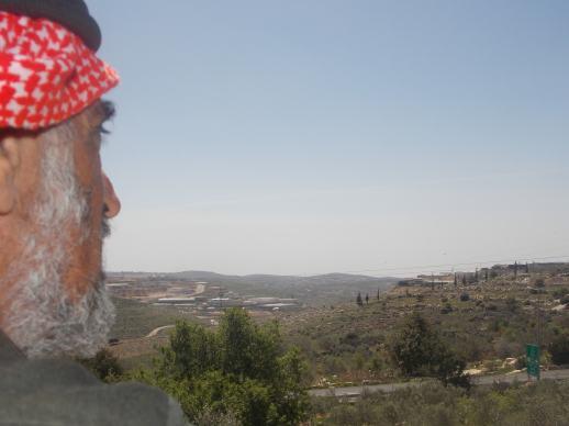Abu Fadi mirando sus tierras robadas por los colonos israelíes, desde la azotea de su casa (M. Landi)