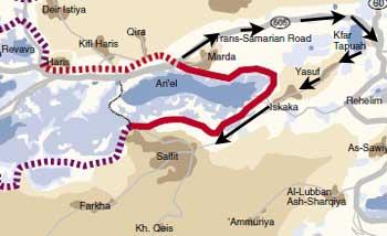 Mapa del largo rodeo que deben hacer las aldeas  palestinas al norte de Ariel para llegar a la capital del distrito (B'Tselem).