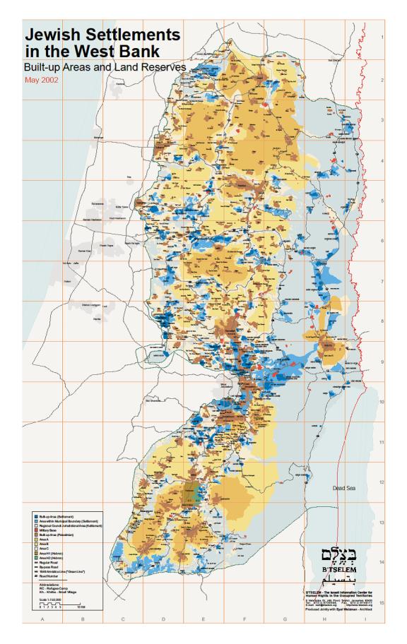 Mapa de Cisjordania con la división en áreas A, B, C y colonias judías ilegales. Las zonas azules y celestes son controladas por Israel.