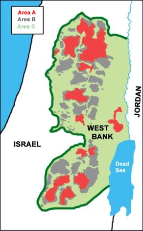 División actual de Cisjordania en áreas A, B y C