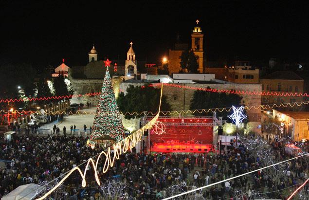 La Plaza del Pesebre y la basílica de la Natividad en el centro de Belén (Adel Hana, AP)