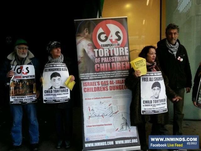 Protesta frente a las oficinas de la empresa de seguridad G4S en Londres por su complicidad en la represión de los presos palestinos (2014).