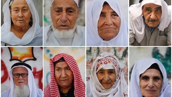 Imágenes de sobrevivientes de al Nakba en el campo de refugiados/as de Jabaliya, Gaza (Reuters).