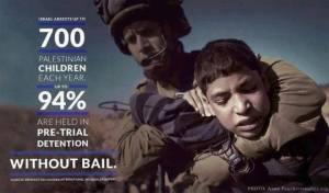 700 niños palestinos son arrestados anualmente por Israel.