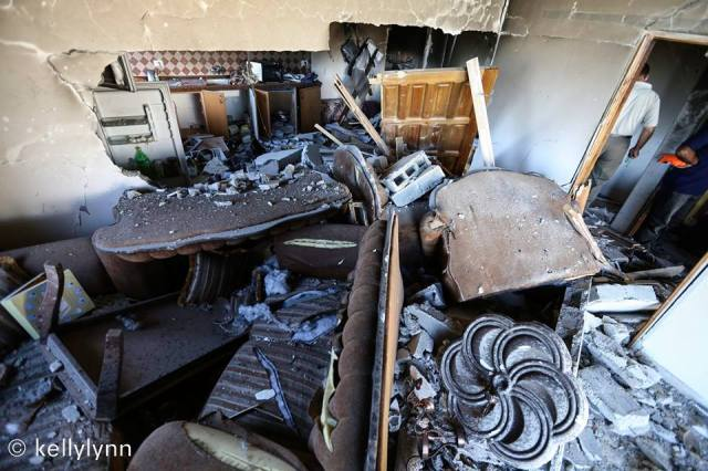 Parte de la casa de la familia Qawasmeh después de la destrucción del ejército israelí.