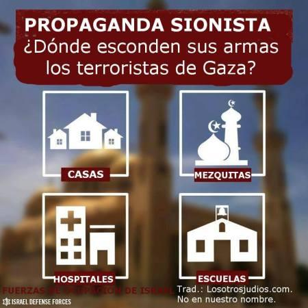 Propaganda del ejército israelí para justificar el bombardeo sobre la población civil.