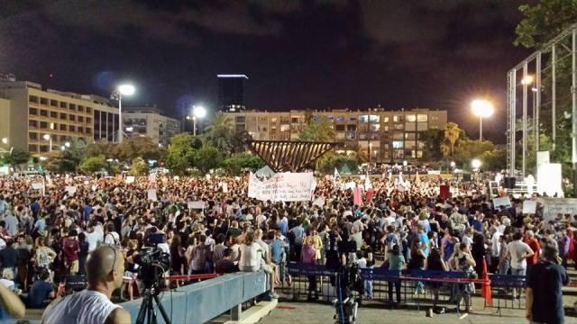 Manifestación en la plaza Rabin de Tel Aviv pidiendo el fin del ataque a Gaza.