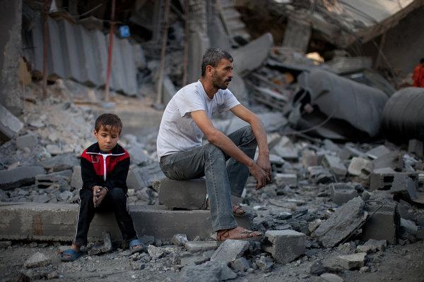 Padre e hijo en Gaza
