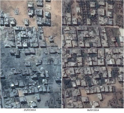 #GAZA Antes y después de Israel. Imágenes satelitales del barrio de Shijaia, antes y después de la masacre sionista. http://t.co/yRaUvh8Trk (atención a las fechas de ambas fotos, pues la secuencia en árabe es opuesta a la nuestra).
