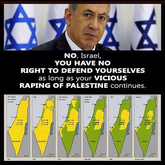 """""""No, Israel NO tiene derecho a defenderse mientras continúe con su viciosa violación de Palestina""""."""