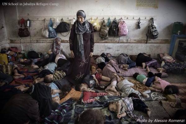 Refugiadas en la escuela de Jabaliyya