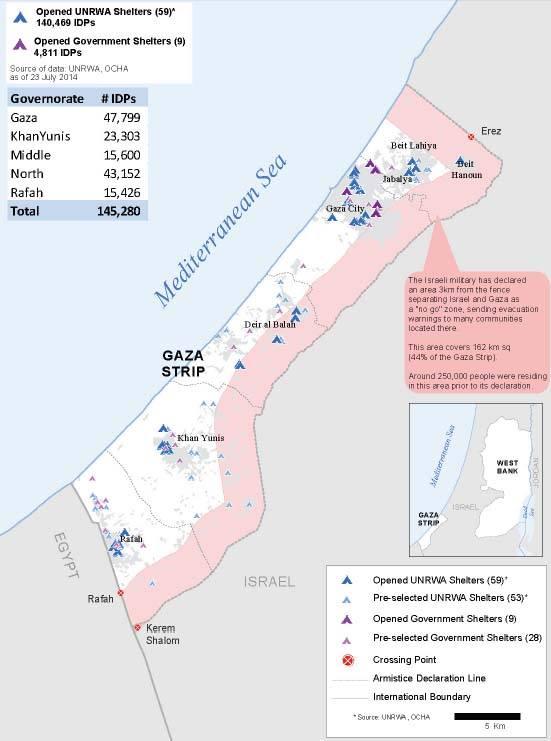 La zona de exclusión establecida por Israel ocupa el 44 por cientodel territorio de la franja de Gaza. 250.000 personas vivían allí antes de la ofensiva militar.