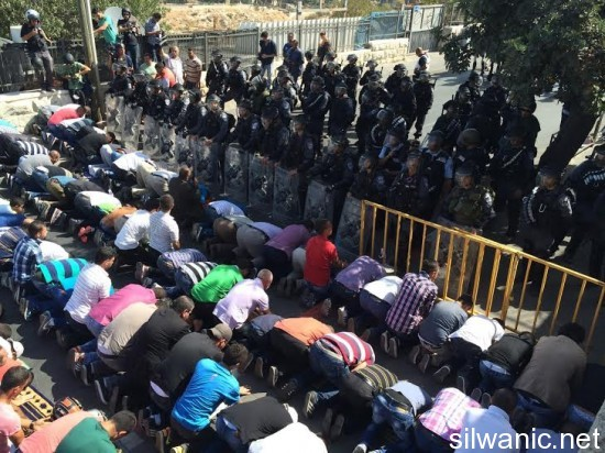 Palestinos impedidos de ingresar a Al Aqsa rezan en la calle (Foto: Siwanic)