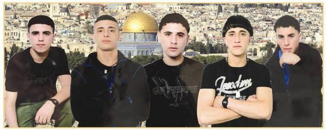 Collage con fotos de los cinco de Hares tomadas en la cárcel de Megiddo