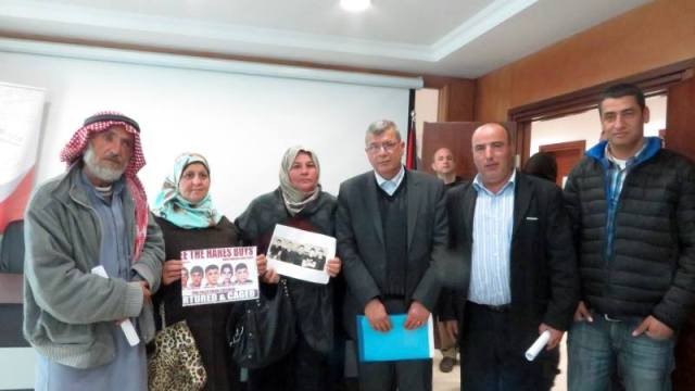 From left to right: Ali's father, Ali's mother, Mohammed S.'s mother, Issa Qaraqeh (Minister of Detainees), Tamer's father, Mohammed K.'s father.