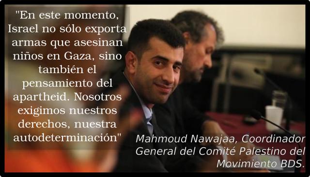 Mahmud Nawajaa en Santiago (BDS Chile) Cartel de BDS Colombia.