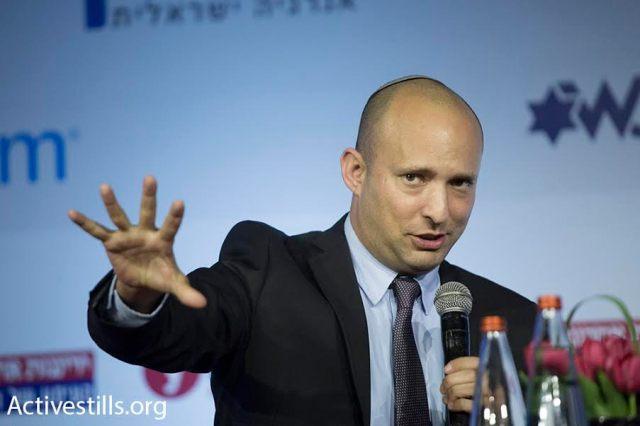 El ministro de Educación Naftali Bennett hablando en la conferencia Stop BDS. Jerusalén, 28/3/16.  (Oren Ziv/Activestills.org)
