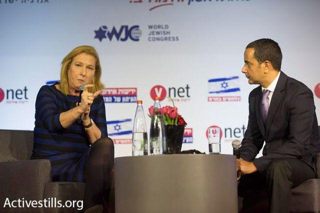 La legisladora del partido Unión Sionista Tzipi Livni es entrevistada durante la conferencia Stop BDS (Oren Ziv/Activestills.org)