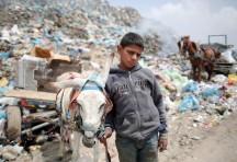 ... en un basurero de Gaza.