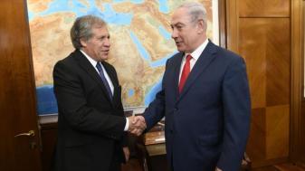 Luis Almagro con Benjamín Netanyahu, primer ministro del Estado de Israel.