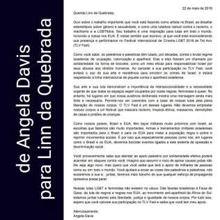 Carta de agradecimiento de Angela Davis a Linn da Quebrada