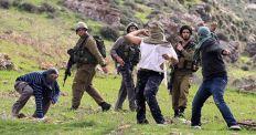 Colonos tirando piedras con la protección de los soldados.