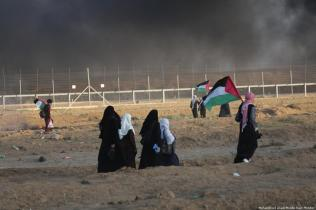 Israeli forces fire tear gas at unarmed Palestinians as they took part in the Great March of Return protests in the Gaza Strip on 7 September 2018 Mohammed Asa
