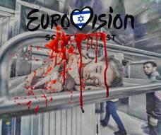 Afiches con imágenes de la reciente masacre israelí en Gaza.