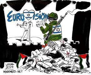 Meme de Carlos Latuff para Mondoweiss.