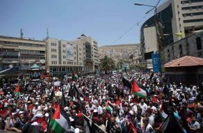 Protesta en Nablus, Cisjordania