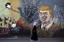 Mural en una calle de Gaza.