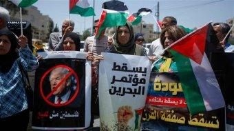 Protesta en Belén, Cisjordania.