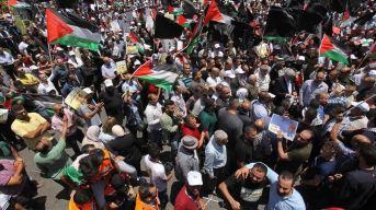 Protesta en Ramala, Cisjordania.
