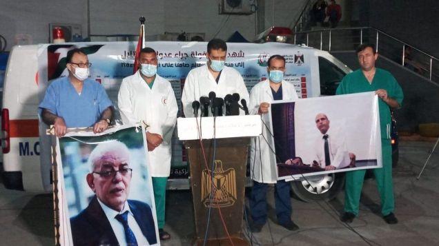 Médicos del hospital Al-Shifa denuncian la muerte de sus dos profesionales, Al-Ouf y Al-Aloul.