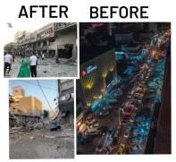 La torre Al-Jalaa antes y después del bombardeo.