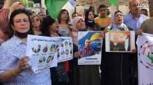 Concentración en apoyo a los presos en huelga de hambre, Nablus, 30/9/21 (QNN).