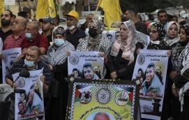 Manifestación de apoyo a los presos fugados en Gaza (AFP).